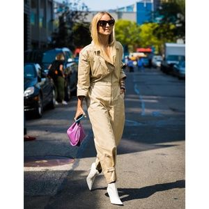 FRAME cropped zip cotton twill jumpsuit boilersuit